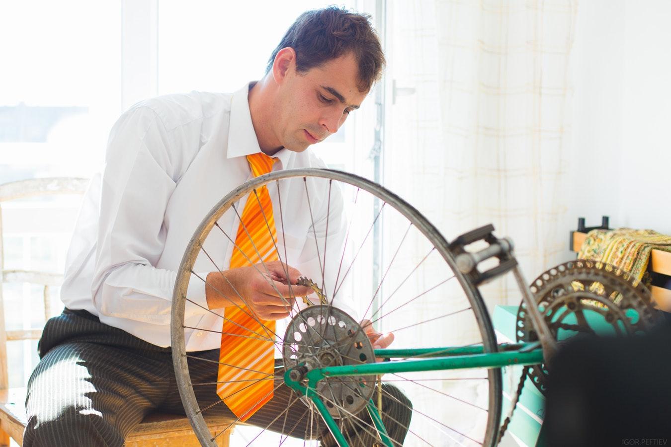 fixing a bike